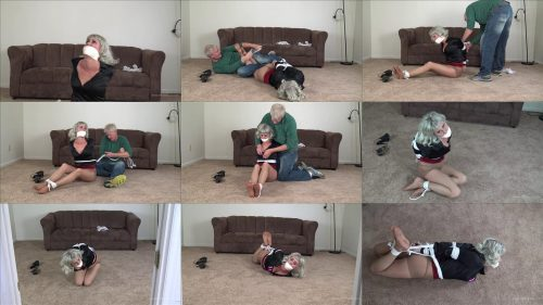 Rope Bondage - Claire D'Lune Bondage – Roughly Handled and Hogtied - Claire is roughly forced to her knees