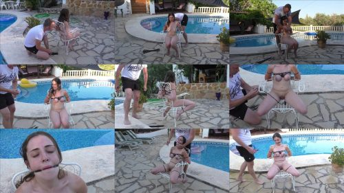 Rope Bondage - Submissive British teen Little Red Girl is tied up next to the pool