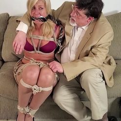 Cutie is tightly bound and cleave-gagged - Cinched and Secured Dakkota Grey – Blonde Bound By Bad Boss