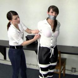 Elizabeth Andrews is tightly bound and and gagged Serene Isley add a crotch rope for her - Female bondage – Security Guard's Hands On Approach