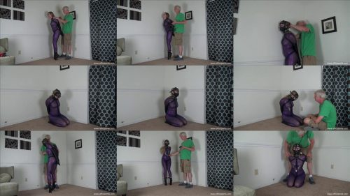 Personal Bondage Torture  - Isean is cuffed and tortured - Leather Bondage – Purple Catsuit -  Nipple Play