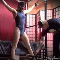 In an awkward position with leather cuffs,head harness - Shinybound Gypsy Bae is Locked Up Part 2 of 2 - Ultra-strict spread eagle predicament