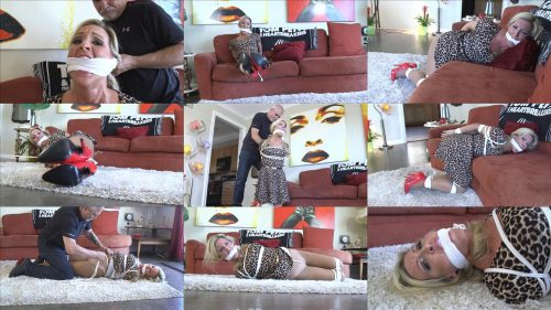 Rope bondage - High heeled Trophy Wife Carolina home invaded GNDB0512 - Carolina is completely helpless and gagged