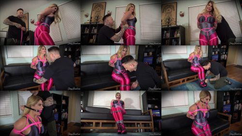 Rope Bondage - Blonde Carissa Montgomery is Tightly Tied in Shiny Spandex - Shinybound - Carissa Montgomery is Bound and ballgagged left to struggle!