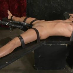 Leather Bondage - Wenona is strapped tight to the boards with leather belts by PerfectSlave – Strapped Tight and Grinding Hard – Wenona