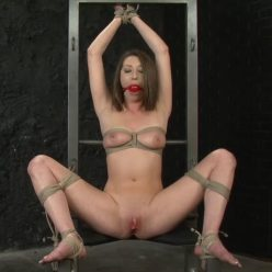 Rope Bondage - PerfectSlave – Chair Tied and Vibed – Jasmine Delatori - Jasmine is sitting on the chair with her legs fully spread and frogtied - Uncomfortable chin-up position