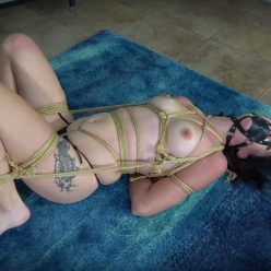 Rope Bondage - Ashley Wolf submits to a nice tight bondage session with scratchy jute rope - Topless Bound Orgasms - Shinybound
