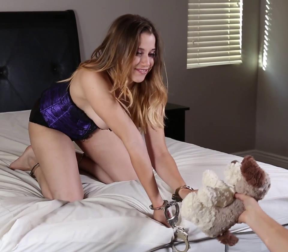 Handcuffs Bondage - Renee Risque is Handcuffed with Teddy Bear - Renee Risque's friends tease her!