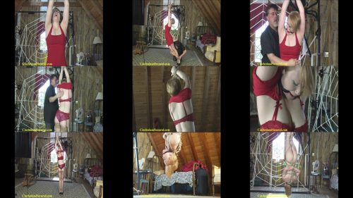 Izzebella Robbins is strapped tightly in place with a fat red ball  - Suspension Bondage – The Attic
