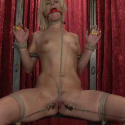 Rope Bondage -Tara is crotch roped and also spread out in the Throne - Society SM – Tag Team On Tara – Tara Lynn Foxx