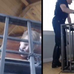 Gagged slave into cage – Boxing Around – Damon Pierce, Rachel Greyhound