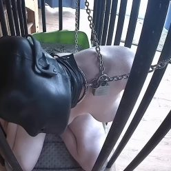 Metal Bondage - Rachel Greyhound is bound and helpless in her old cage – Cage Time (Sensory Deprivation Edition)