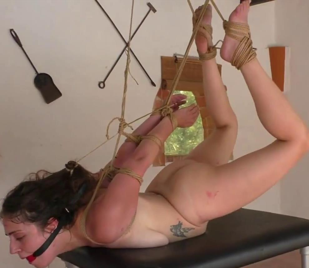 Rope Bondage - British Little red Girl tortured with tight ropes - Xtremely - Tight Bondage