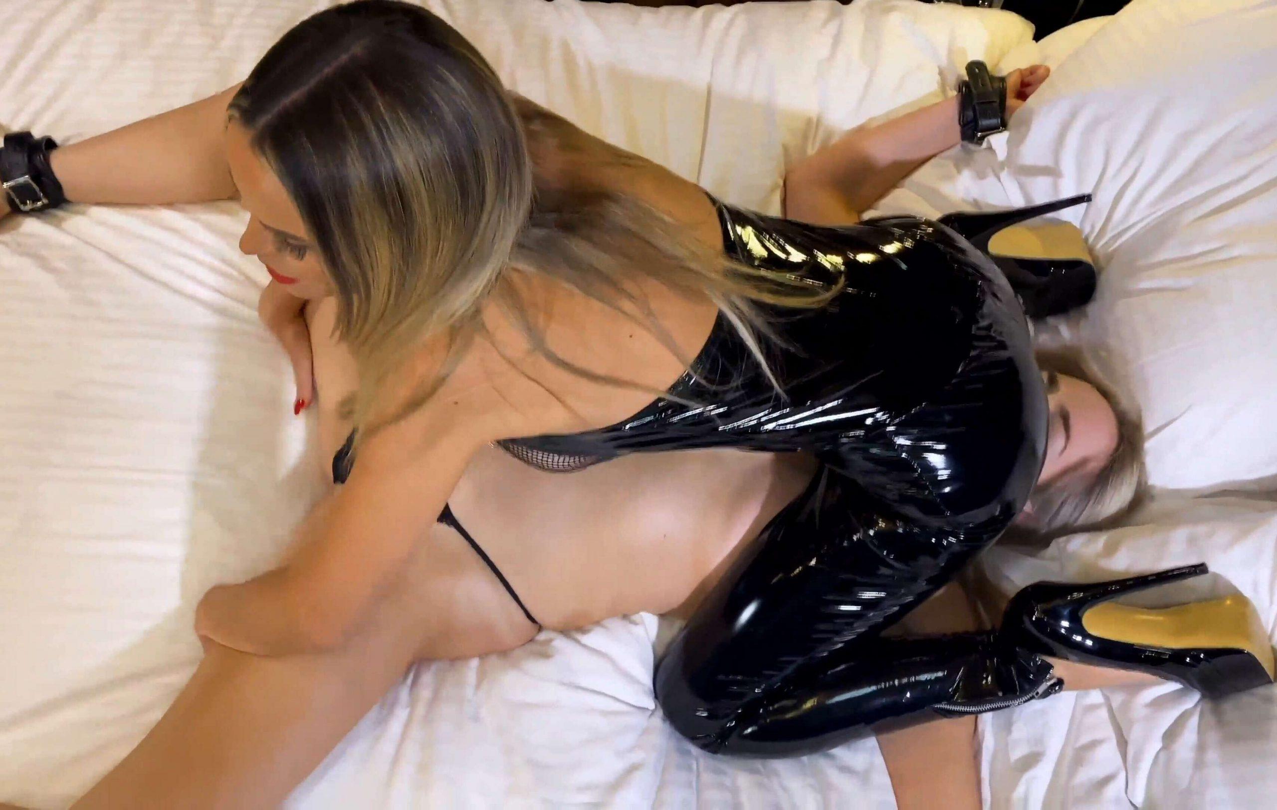 Lesbian Bondage - Arabella Jade and Jasmine Sinclair – Killer Pants! - Boundhoneys - Arabella to ORGASM and uses Arabella as a sex toy