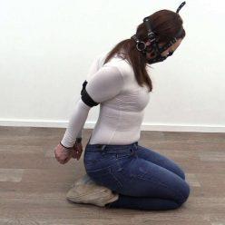 Leather Bondage - Roxy is tight elbow bondage - Boundlife - Roxy trys harness panel gag