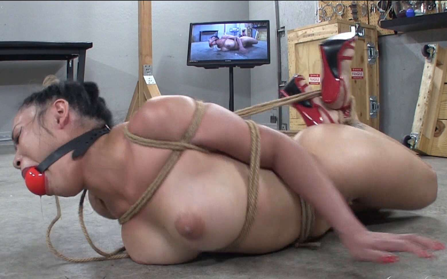 Asianastarr - Dirty Girl Hogtied Part 1 of 2 - Drooling - Naked, crotch roped and gagged with my ponytail pulled back