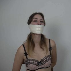 Tape Bondage - Gagattack - Pearl is tied and gagged– Microfoam Tape Gagged FULL 2 Gag Video HD