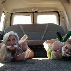 Female Bondage - Milf Sandra Silvers & Whitney Morgan Hogtied in Heels - Get a Surprise Van Ride Part 1