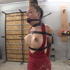 Leather Bondage - Drooling - Asiana Starr Topless Tuesday Tease with leather restraints and leather belts - Part 2 of 2