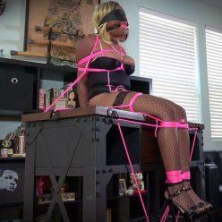 Rope Bondage - Nina Rivera is gagged, blindfolded -The Mantle Piece - Shinybound