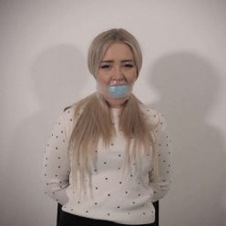 Gagattack - Gagged Aubrey is tied to the chair - Tight cleave gag– Clear Tape Gags FULL 2 Gag Video HD