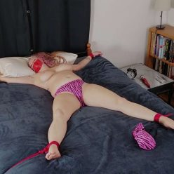 Rope Bondage - Sybil Starr is tied spread-eagled, gagged - Orgasm Play - Cinched and Secured