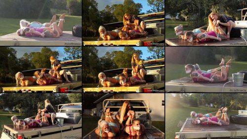 Pantyhose Bondage - 2 Sporty MILFs Sandra Silvers & Whitney, Truck Tied and Foot Worshipped! - Lesbian Bondage