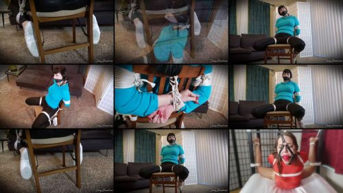 Rope Bondage - Helpless Nyxon.. Chairtied in Ballet Slippers with neck rope - Predicament Bondage