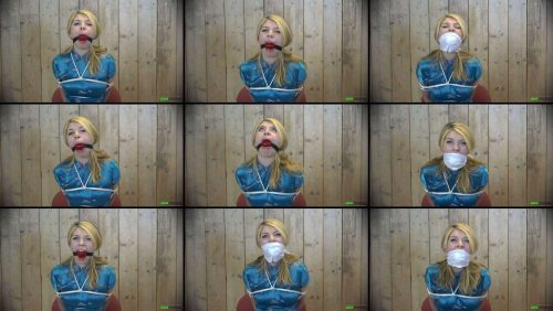 Rope Bondage - Lolly Anne – Multiple Gags FULL 2 Gagattack Video HD - Lolly Anne is tied and gagged with a 56mm Ballgag