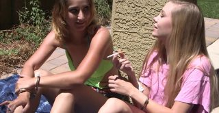 Pink-Cuffs - Lisa and Kenzie wear handcuffs - Handcuffed cuties smoking